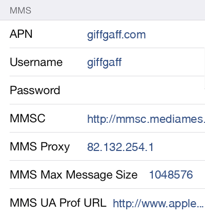 Giffgaff MMS APN settings for iOS8 screenshot