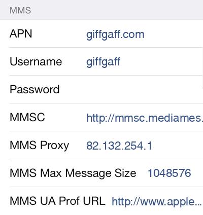 Giffgaff MMS APN settings for iOS9 screenshot