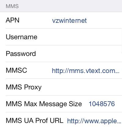 Verizon  APN settings for iOS9 screenshot