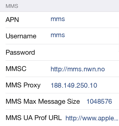 MyCall MMS APN settings for iOS8 screenshot