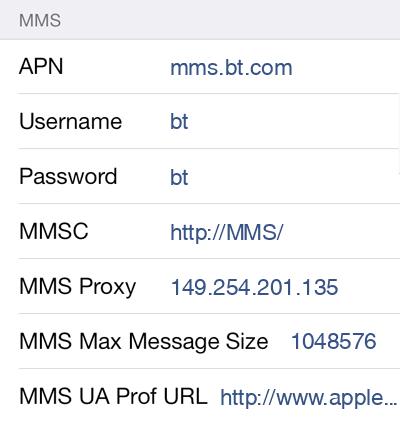 BT Mobile MMS APN settings for iOS9 screenshot