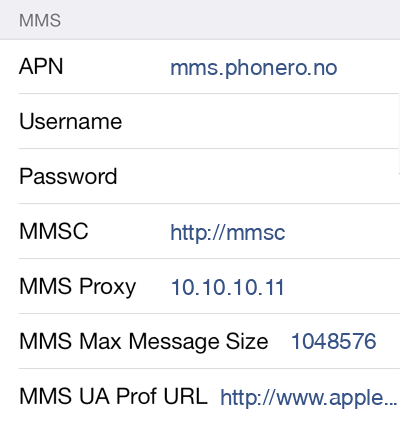 Phonero MMS APN settings for iOS9 screenshot