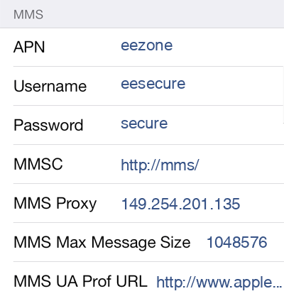 Asda Mobile MMS APN settings for iOS9 screenshot