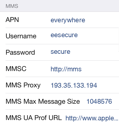 TPO Mobile  APN settings for iOS8 screenshot