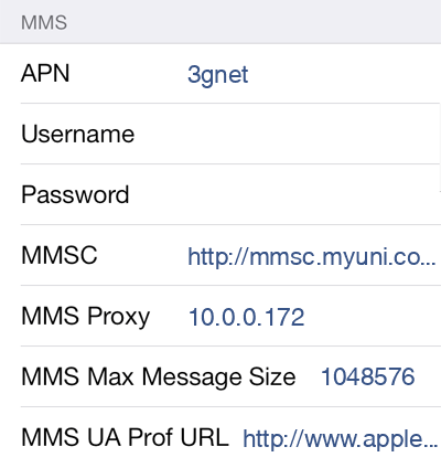China Unicom  APN settings for iOS8 screenshot