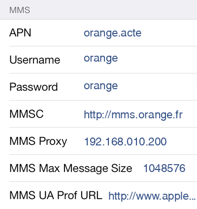 Orange MMS APN settings for iOS9 screenshot