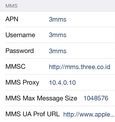 3 MMS APN settings for iOS9 screenshot