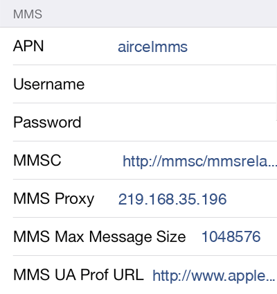 Aircel MMS APN settings for iOS9 screenshot