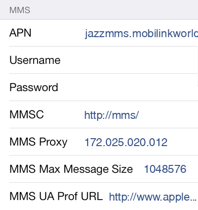 Mobilink MMS APN settings for iOS9 screenshot