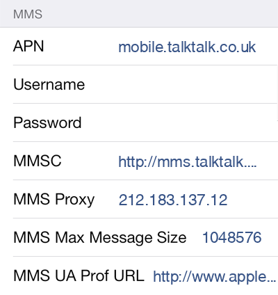 TalkTalk  APN settings for iOS8 screenshot