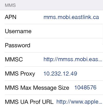 Eastlink MMS APN settings for iOS9 screenshot