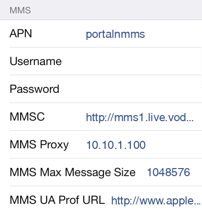 Vodafone  APN settings for iOS8 screenshot
