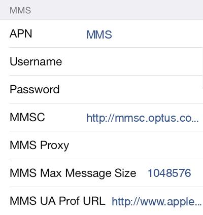 Dodo MMS APN settings for iOS8 screenshot