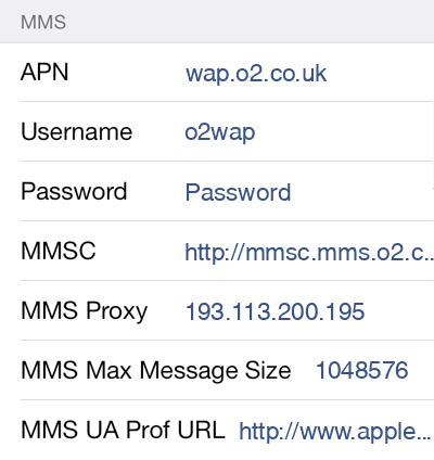 Mobal MMS APN settings for iOS9 screenshot