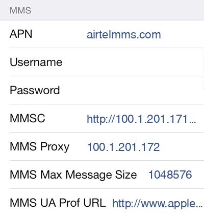 Airtel MMS APN settings for iOS8 screenshot