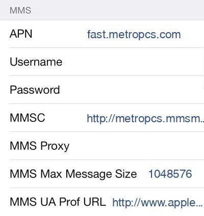 MetroPCS  APN settings for iOS8 screenshot
