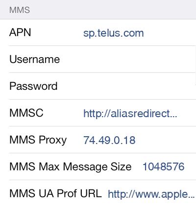TELUS Mobility  APN settings for iOS9 screenshot