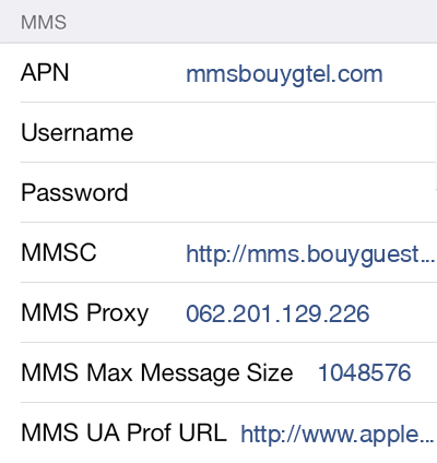 Bouygues  APN settings for iOS9 screenshot