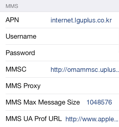 LG U+  APN settings for iOS8 screenshot
