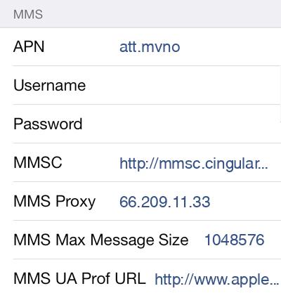 H2O Wireless MMS APN settings for iOS8 screenshot