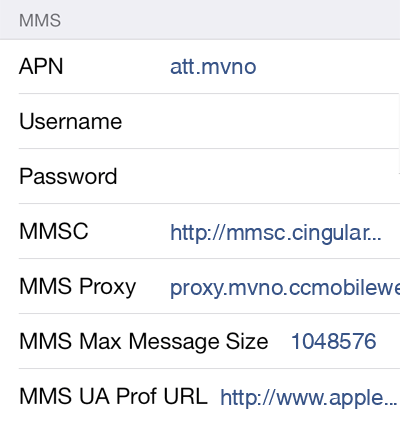 Consumer Cellular  MMS APN settings for iOS9 screenshot