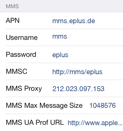 E-plus MMS APN settings for iOS9 screenshot