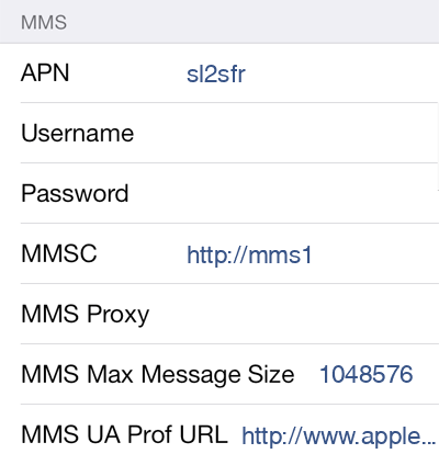 SFR  APN settings for iOS9 screenshot