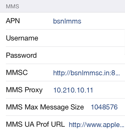 BSNL MMS APN settings for iOS9 screenshot