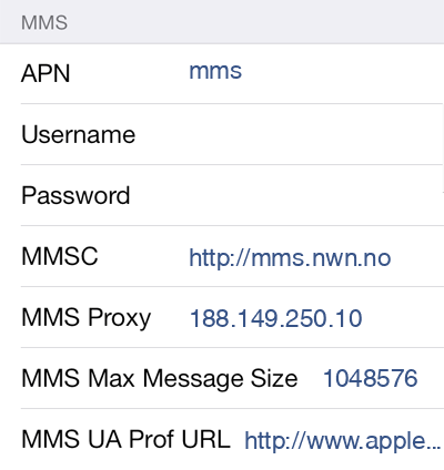 OneCall MMS APN settings for iOS9 screenshot