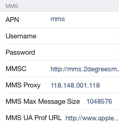 2Degrees MMS APN settings for iOS9 screenshot