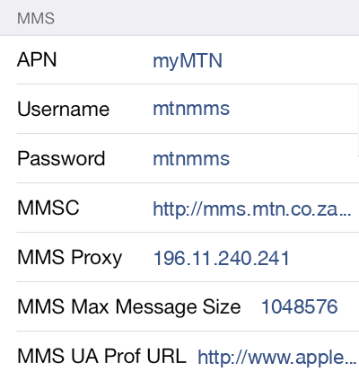 MTN MMS APN settings for iOS8 screenshot