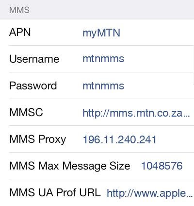 MTN MMS APN settings for iOS9 screenshot