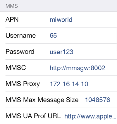 M1 MMS APN settings for iOS8 screenshot