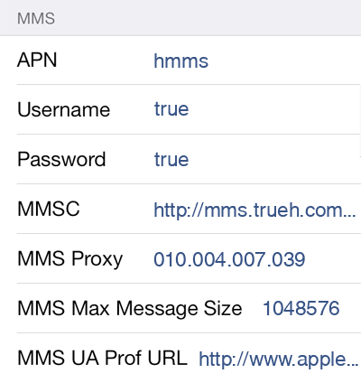 TrueMove H MMS APN settings for iOS9 screenshot