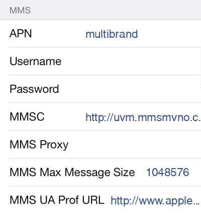 Univision Mobile  APN settings for iOS9 screenshot