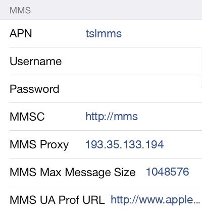CTExcel MMS APN settings for iOS8 screenshot
