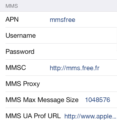 Free MMS APN settings for iOS8 screenshot
