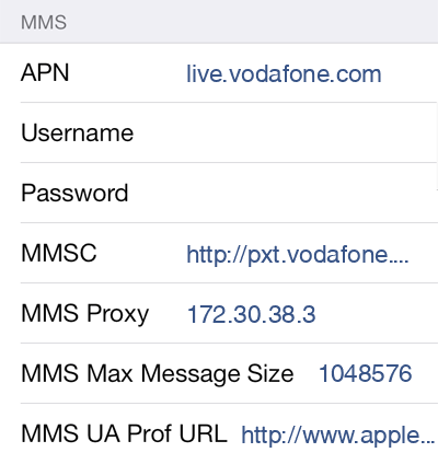 Vodafone  MMS APN settings for iOS9 screenshot