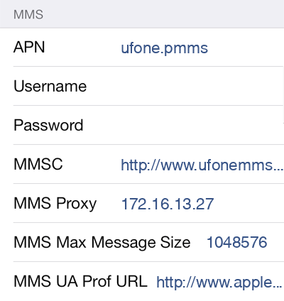 Ufone MMS APN settings for iOS8 screenshot