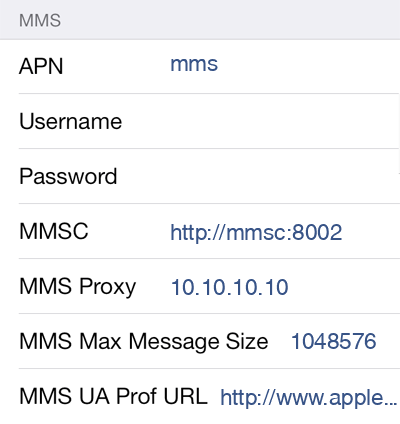 MegaFon MMS APN settings for iOS8 screenshot