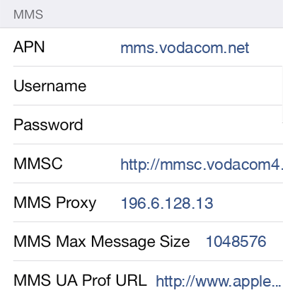 Vodacom MMS APN settings for iOS9 screenshot