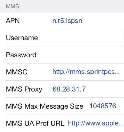 RingPlus Mobile  APN settings for iOS8 screenshot