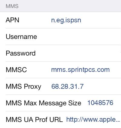 TextNow  APN settings for iOS9 screenshot