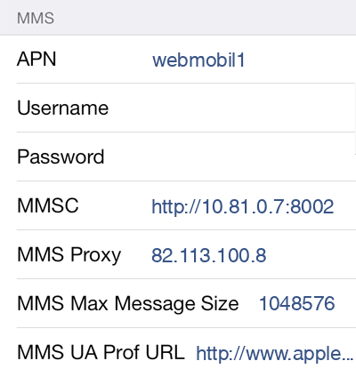 Tchibo  APN settings for iOS9 screenshot