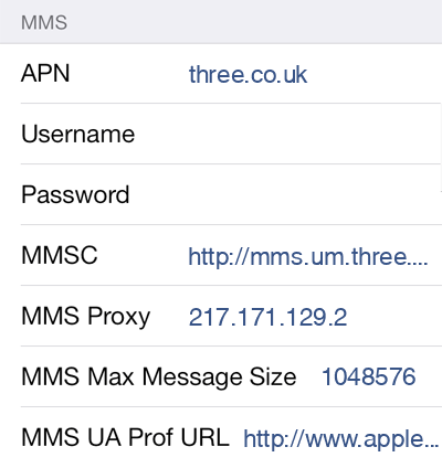 Three  APN settings for iOS9 screenshot