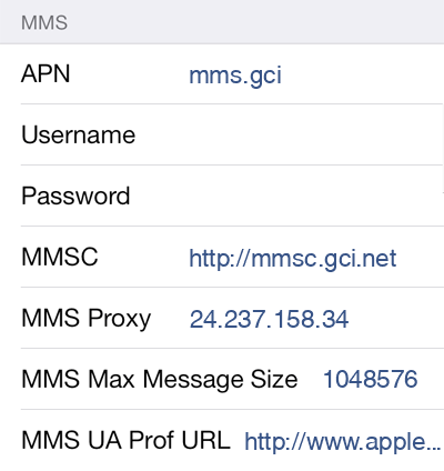 GCI MMS APN settings for iOS9 screenshot
