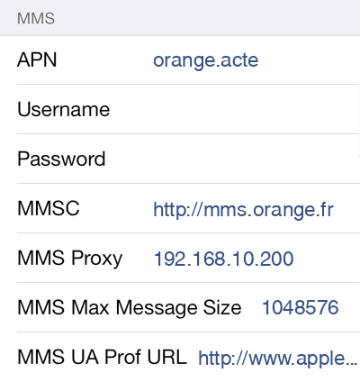 Sosh MMS APN settings for iOS8 screenshot