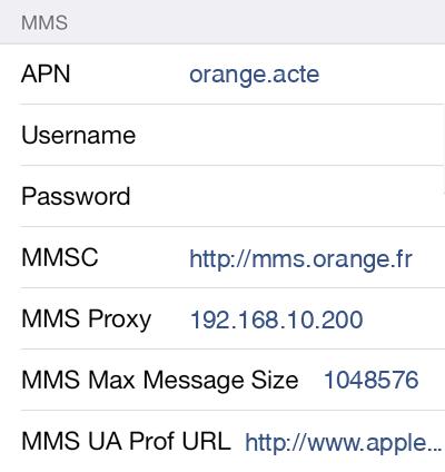 Sosh MMS APN settings for iPhone 5S screenshot