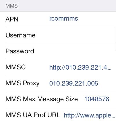 Reliance MMS APN settings for iOS8 screenshot