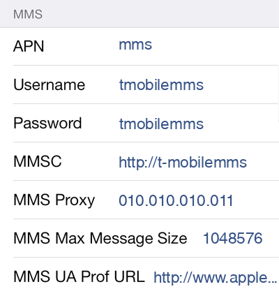 T-Mobile  MMS APN settings for iOS9 screenshot